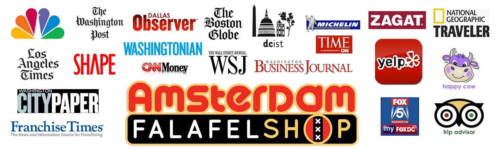 Images of news outlets who have reviewed Amsterdam Falafelshop