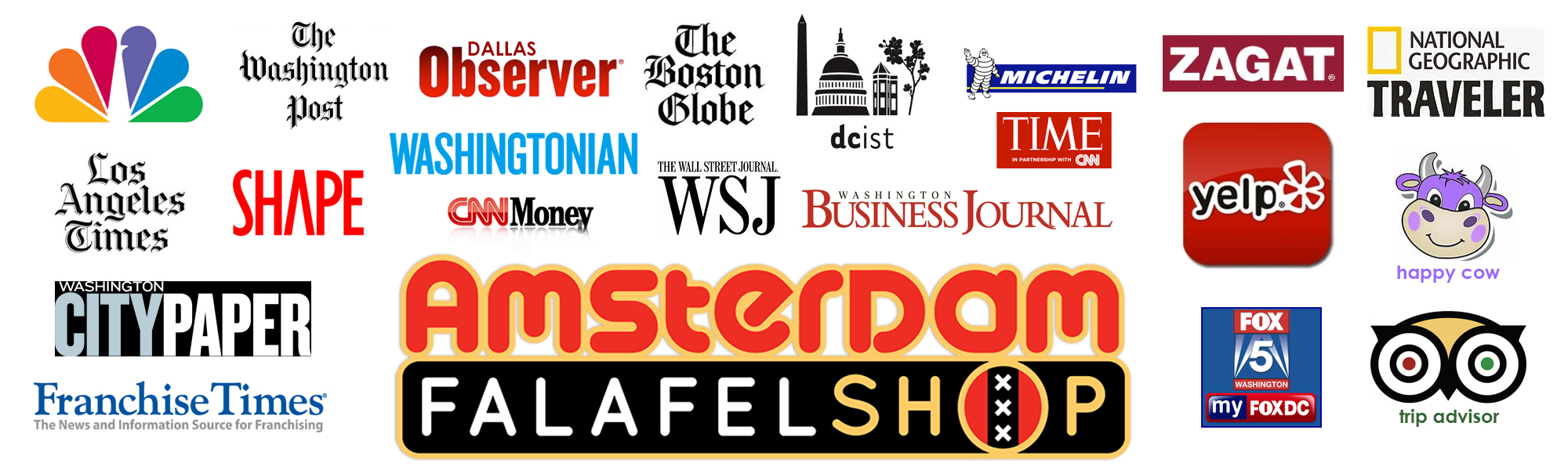 Images of news outlets who have reviewed Amsterdam Falafelshop
